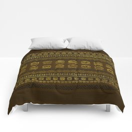 Maya Calendar Glyphs pattern Gold on Brown Comforters