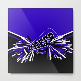 Blue, Black and White Cheerleader Design Metal Print