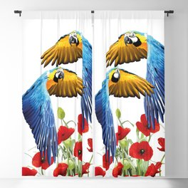 Flying macaw bird over poppies field Blackout Curtain