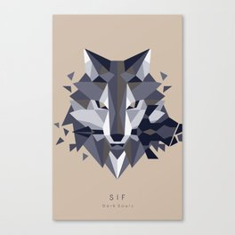 Sif the Great Grey Wolf (without bg) Canvas Print