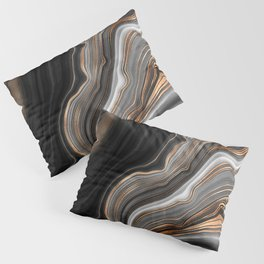 Elegant black marble with gold and copper veins Pillow Sham
