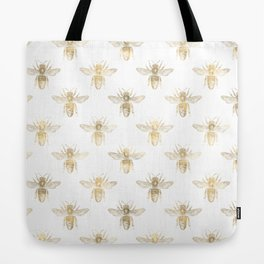 Gold Bee Pattern Tote Bag