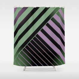 Diagonal Green and Violet Shower Curtain