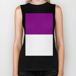 White and Purple Violet Horizontal Halves Biker Tank