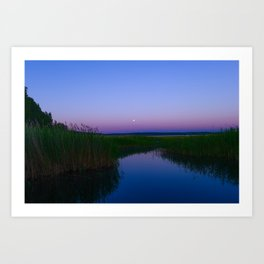 lake in the moonlight night sky Art Print