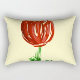 Single Rose on Soft Yellow Rectangular Pillow