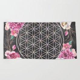 Flower of Life Rose Garden Beach Towel