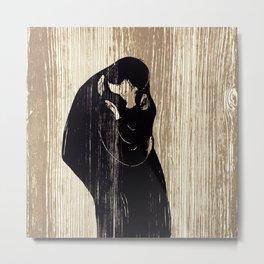 Edvard Munch - Kiss IV , 1902 Woodcut Block Print Metal Print