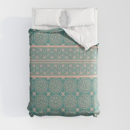 African Ethnic Tribal Blue Green Faded Pink Comforters
