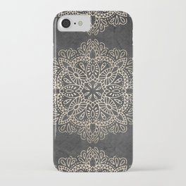 Mandala White Gold on Dark Gray iPhone Case