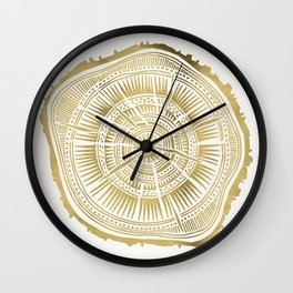 Paper Birch – Gold Tree Rings Wall Clock