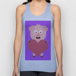 Pig with big Heart for Valentine Unisex Tank Top