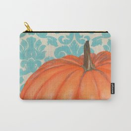 Pumpkin with Damask Carry-All Pouch