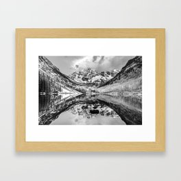 Maroon Bells Monochrome Nature and Mountain Landscape - Aspen Colorado Framed Art Print