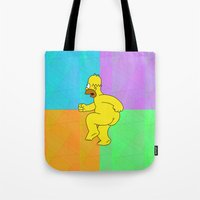 homer Tote Bags featuring NAKED HOMER For IPhone by Vertigo