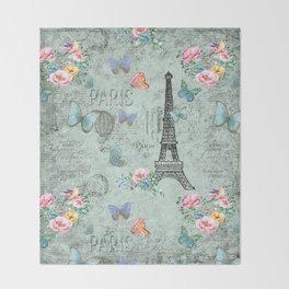 Paris - my love - France Eiffeltower Nostalgy - French Vintage Throw Blanket