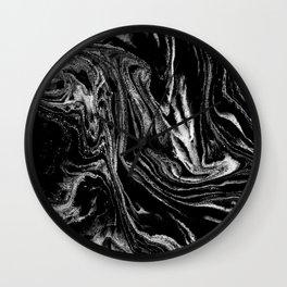 Black and white marble abstract minimal suminagashi japanese ink Wall Clock