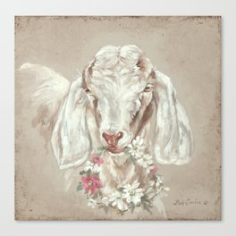 Goat with Floral Wreath by Debi Coules Canvas Print