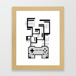 8-BIT JOYSTICK (GREY) Framed Art Print