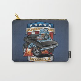 American Muscle Patriotic Classic Muscle Car Cartoon Illustration Carry-All Pouch