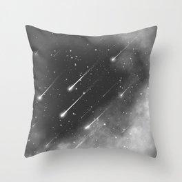 Monochrome space. Starfall. Night starry sky. Throw Pillow