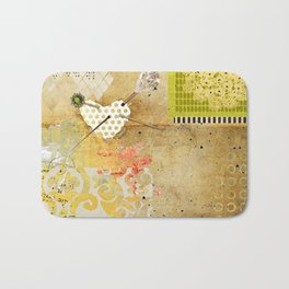 Neutral & Green Abstract Art Collage Bath Mat