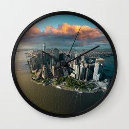 Aerial view of lower Manhattan, New York City Wall Clock