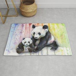 Rainbow Pandas Watercolor Mom and Baby Panda Nursery Art Rug