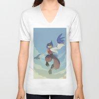 starfox V-neck T-shirts featuring Falco Lombardi  by Taylor Barron