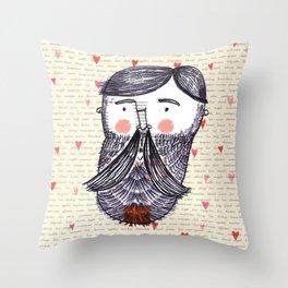 Bearded Lumberjack Man Throw Pillow