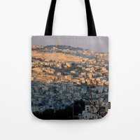 israel Tote Bags featuring Jerusalem Living in Israel by Rachel J