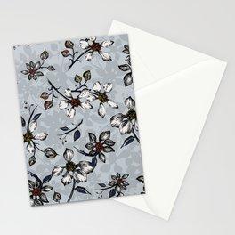 Botanical Pattern on Grey Background Stationery Cards