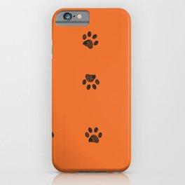Black doodle paw prints with orange background iPhone Case