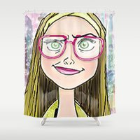 chemistry Shower Curtains featuring chemistry whiz by grapeloverarts