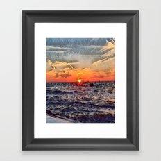Lake Michigan Romantic Sunset Framed Art Print