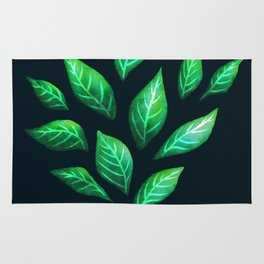 Dark Abstract Green Leaves Rug