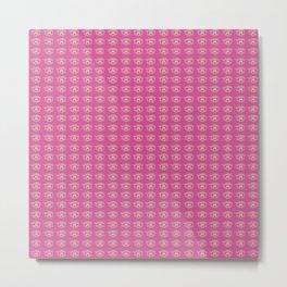 Rainbow Eyes Pattern - Tiny Hot Pink Metal Print