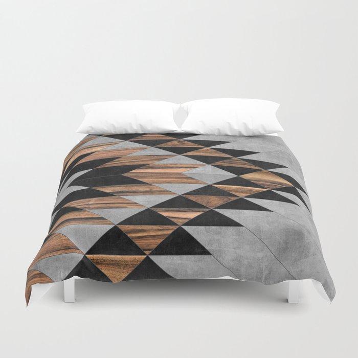 Urban Tribal Pattern No.10 - Aztec - Concrete and Wood Bettbezug