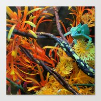 chameleon Canvas Prints featuring Chameleon by Geni
