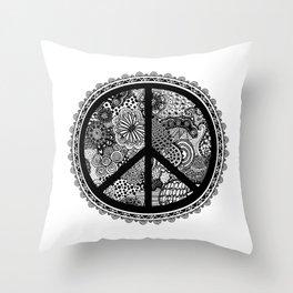 Zen Doodle Peace Symbol Black And White Throw Pillow