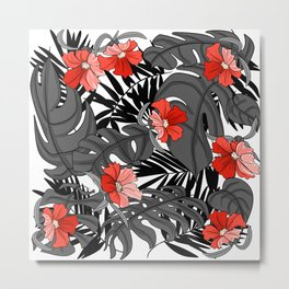 Tropical Flower Pattern - Black and White Metal Print