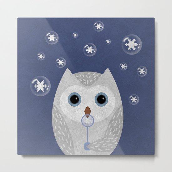 Christmas Owl Blue Marble Metal Print