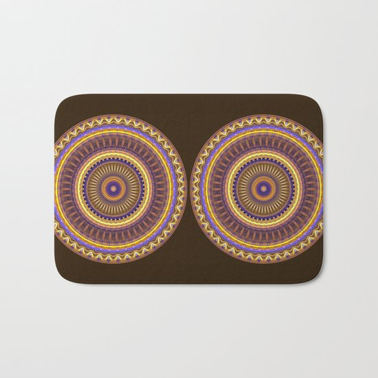 Groovy mandala with waves and tribal patterns in brown, yellow, blue and purple Bath Mat