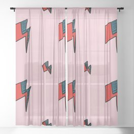 Hallo Spaceboy in Pretty Pink Rose Sheer Curtain