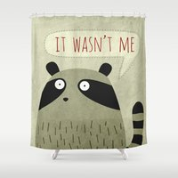 raccoon Shower Curtains featuring Raccoon by Fuzzorama