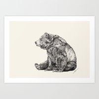 adorable Art Prints featuring Bear // Graphite by Sandra Dieckmann