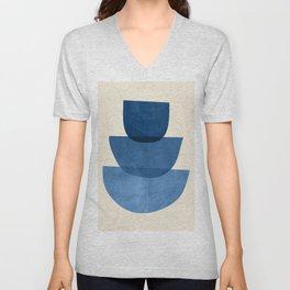 Abstract Shapes 37-Blue Unisex V-Neck