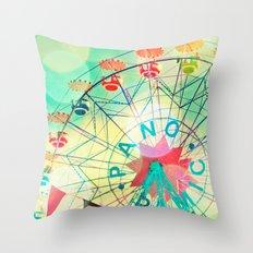 Panoramic carnival ferris wheel Throw Pillow