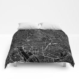 Washington D.C. Black Map Comforters