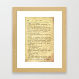 Jane Eyre, Mr. Rochester First Marriage Proposal by Charlotte Bronte Framed Art Print
